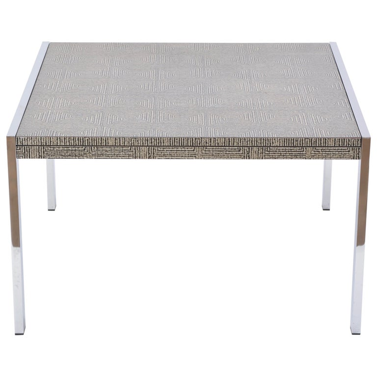 Mid-Century Modern Steel and Aluminium Coffee Table with Graphic Meander Pattern For Sale