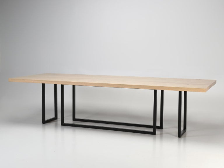 American Mid-Century Modern, Steel and Reclaimed White Oak Dining Table, in Any Size For Sale