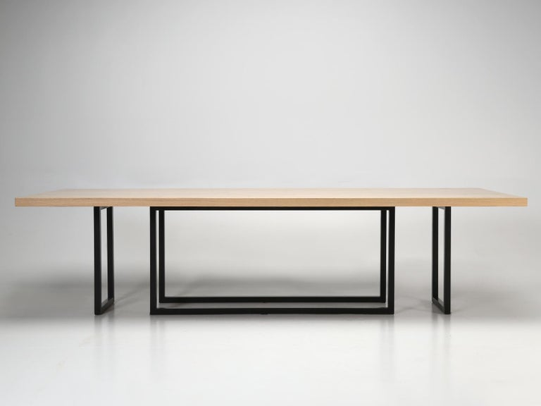 Hand-Crafted Mid-Century Modern, Steel and Reclaimed White Oak Dining Table, in Any Size For Sale
