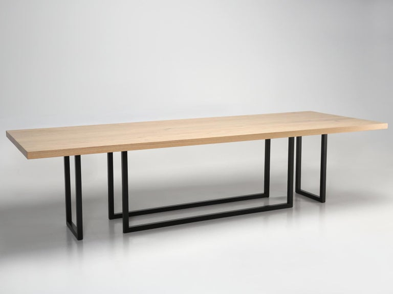 Mid-Century Modern, Steel and Reclaimed White Oak Dining Table, in Any Size In New Condition For Sale In Chicago, IL
