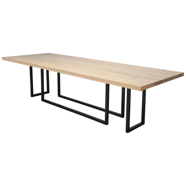 Mid-Century Modern, Steel and Reclaimed White Oak Dining Table, in Any Size For Sale