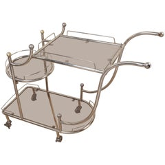 Mid-Century Modern Steel Bar Cart with Smoked Glass Shelves