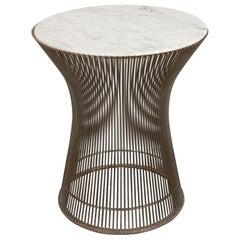 Mid-Century Modern Stahl & Carrara Marmor Beistelltisch von Warren Platner für Knoll