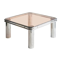 Mid-Century Modern Steel Chromed Pink Glass Side Table, Italy, 1970