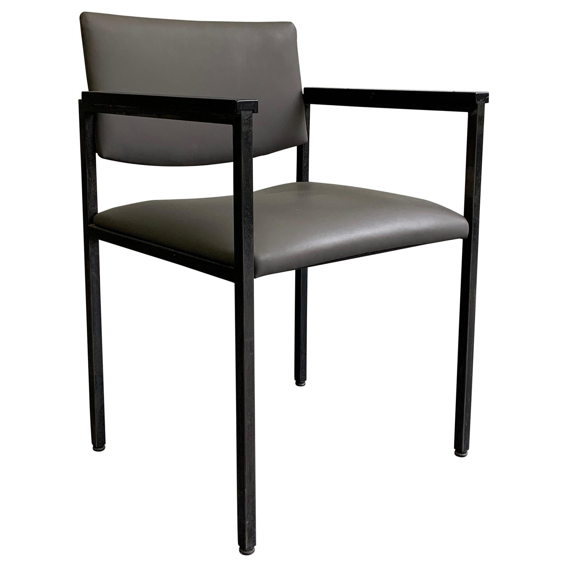 Mid-Century Modern Steel Frame Leather Armchair