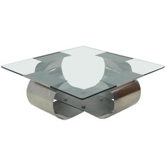 Mid-Century Modern Steel Glass Coffee Table François Monnet for Kappa, 1970s