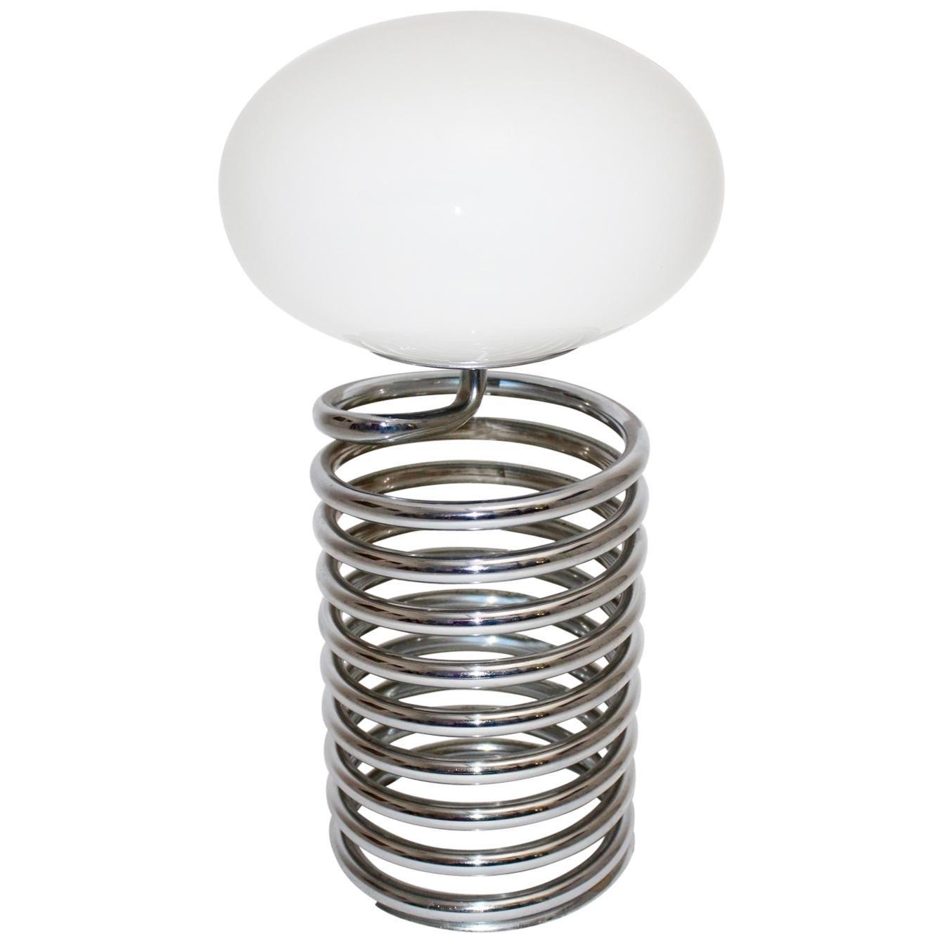 Mid-Century Modern Vintage Steel Spring Table Lamp by Ingo Maurer, Germany, 1968