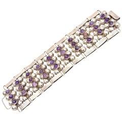 Mid Century Modern Sterling Silver & Amethyst Cuff Bracelet