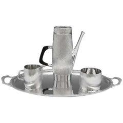 Mid-Century Modern Sterling Silver Coffee Set on Tray Gerald Benney for Asprey