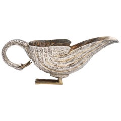 Mid-Century Modern Sterling Silver-Gilt Swan-Form Gravy/Sauce Boat by Tane