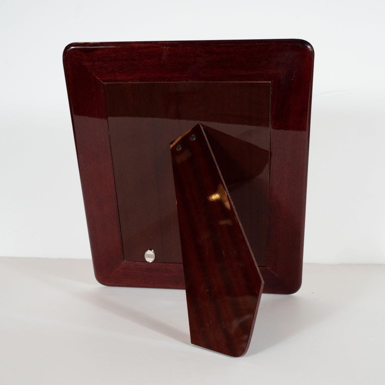 Italian Mid-Century Modern Sterling Silver Picture Frame with Mahogany Back by Sovrani For Sale