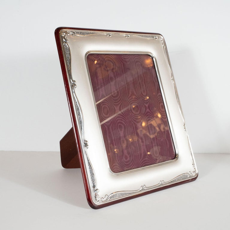 Mid-Century Modern Sterling Silver Picture Frame with Mahogany Back by Sovrani In Excellent Condition For Sale In New York, NY
