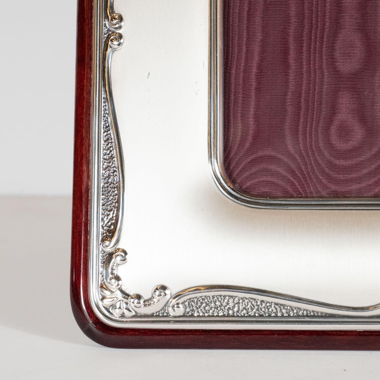 Mid-Century Modern Sterling Silver Picture Frame with Mahogany Back by Sovrani For Sale 1