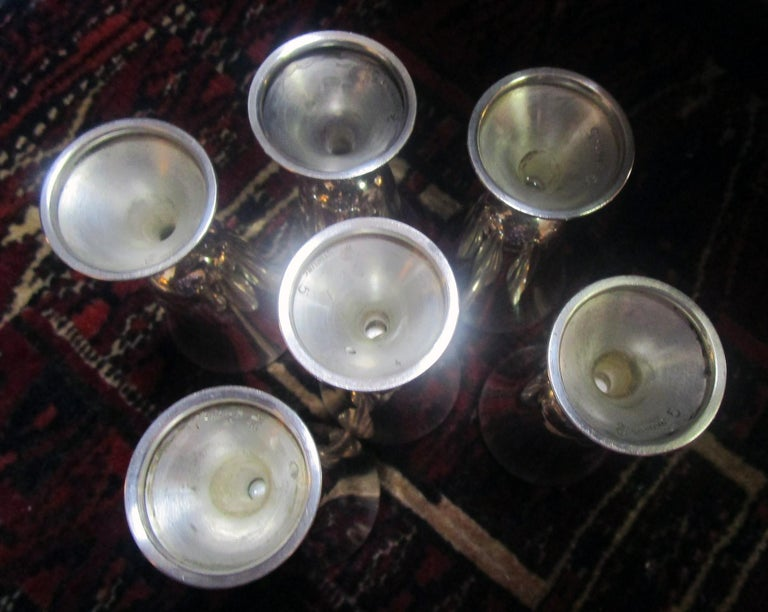 American Mid-Century Modern Sterling Silver Vodka Shot/Cordial Goblets For Sale