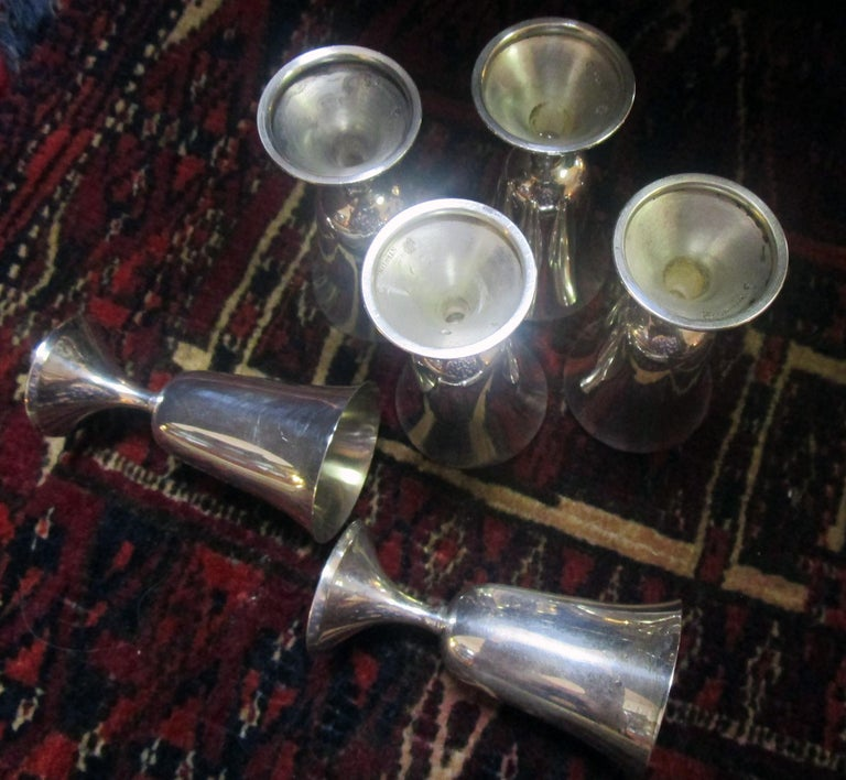 Mid-Century Modern Sterling Silver Vodka Shot/Cordial Goblets In Good Condition For Sale In Savannah, GA