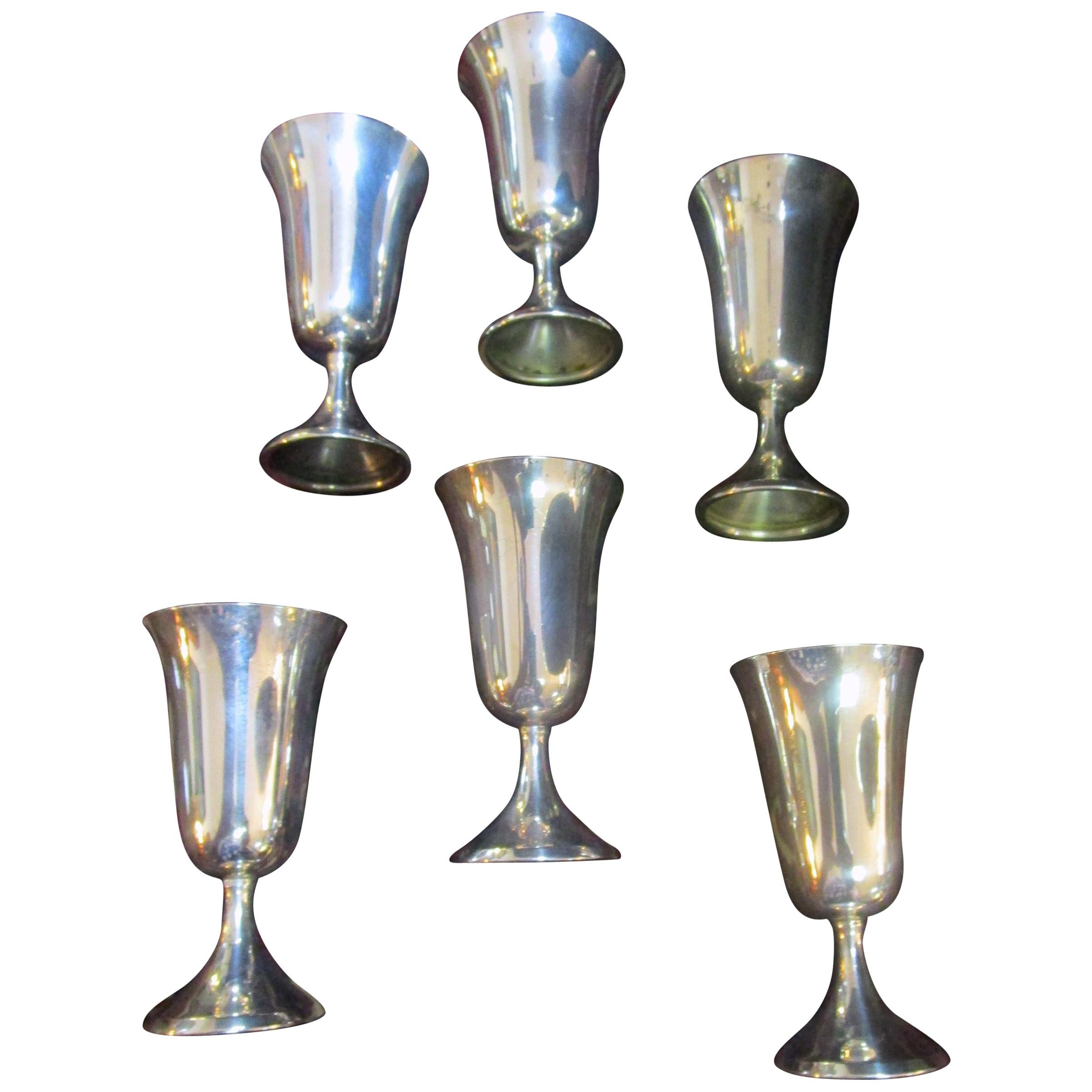 Mid-Century Modern Sterling Silver Vodka Shot/Cordial Goblets