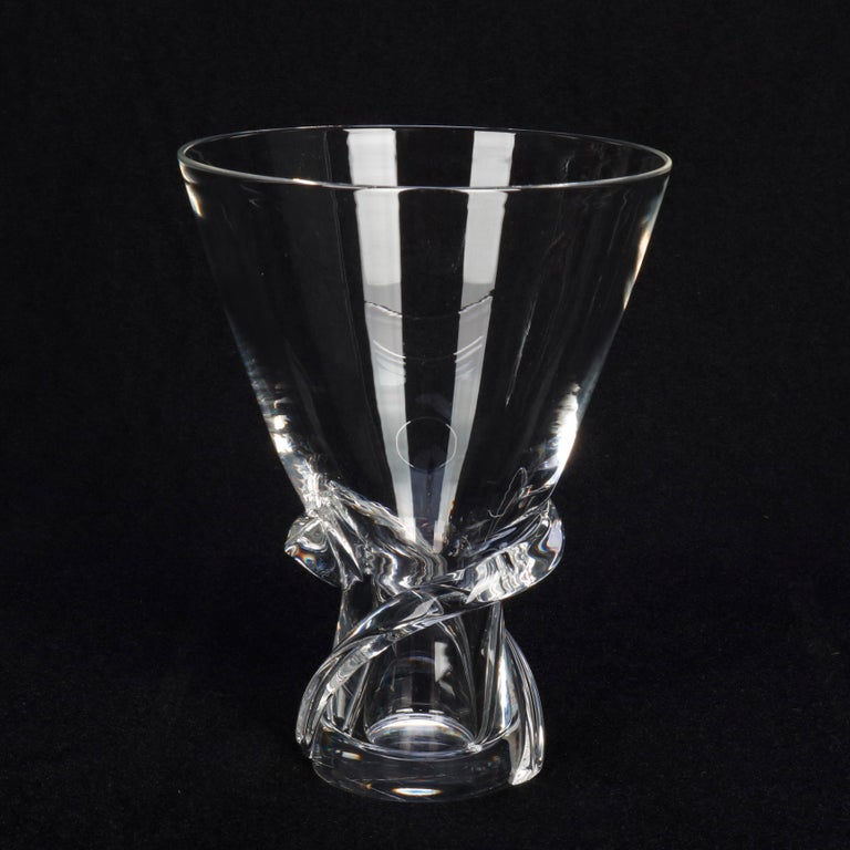 Hand-Crafted Mid-Century Modern Steuben Glass Works Signed Crystal Twist Vase with Box For Sale