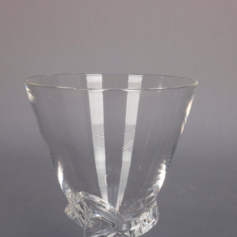 20th Century Mid-Century Modern Steuben Glass Works Signed Crystal Twist Vase with Box For Sale
