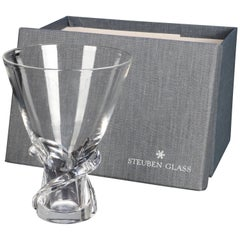 Mid-Century Modern Steuben Glass Works Signed Crystal Twist Vase with Box