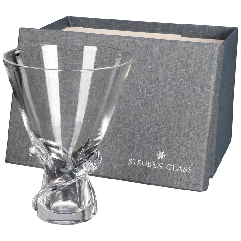 Mid-Century Modern Steuben Glass Works Signed Crystal Twist Vase with Box For Sale