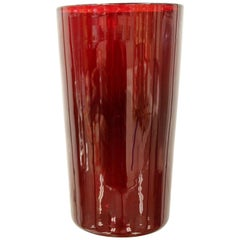 Mid-Century Modern Steuben Ruby Red Decorative Art Vase Vessel Table Sculpture