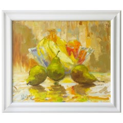 "Mid-Century Modern Still Life Oil Painting, Entitled ""Pears"""