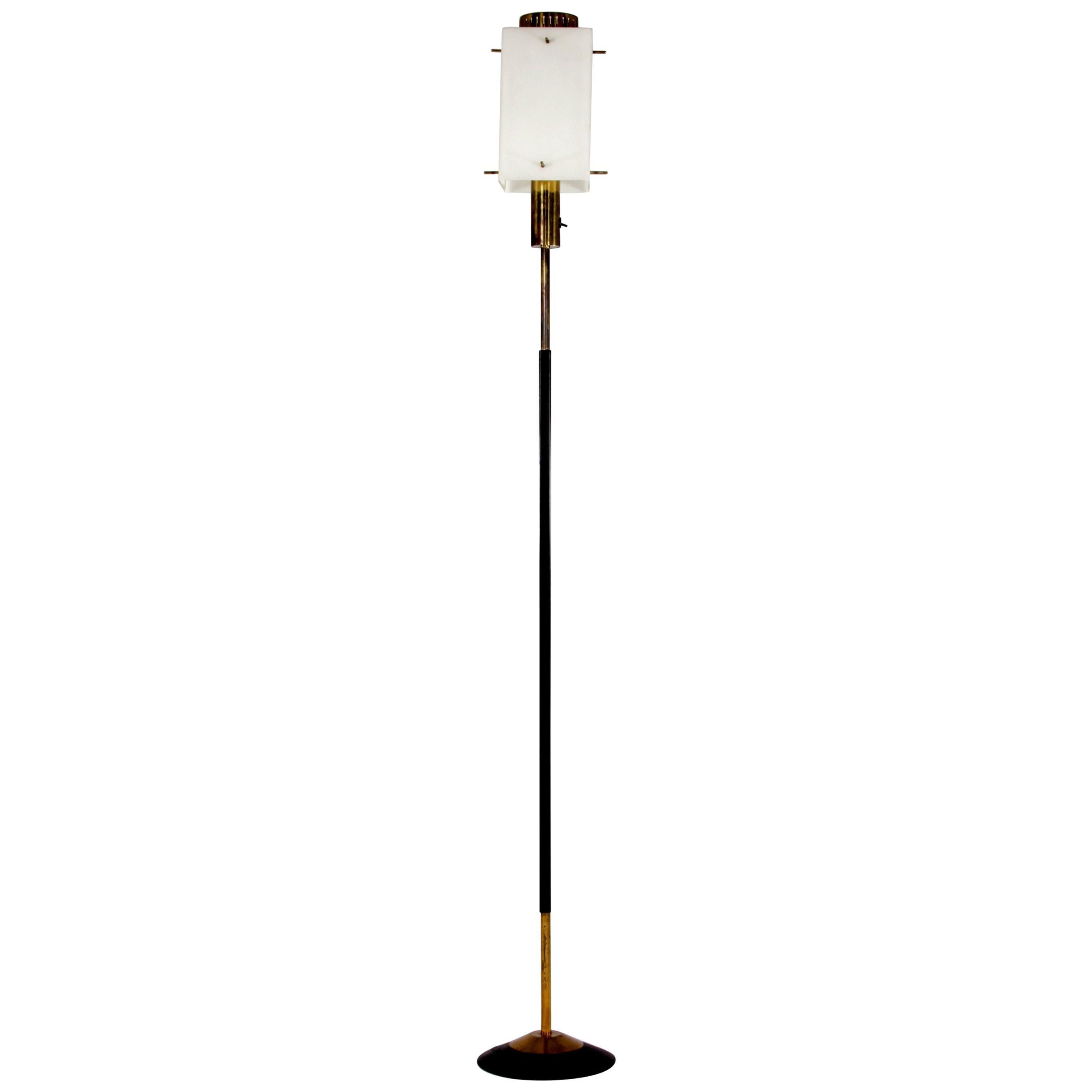 Mid-Century Modern Stilnovo Brass Floor Lamp, Italy, 1950s