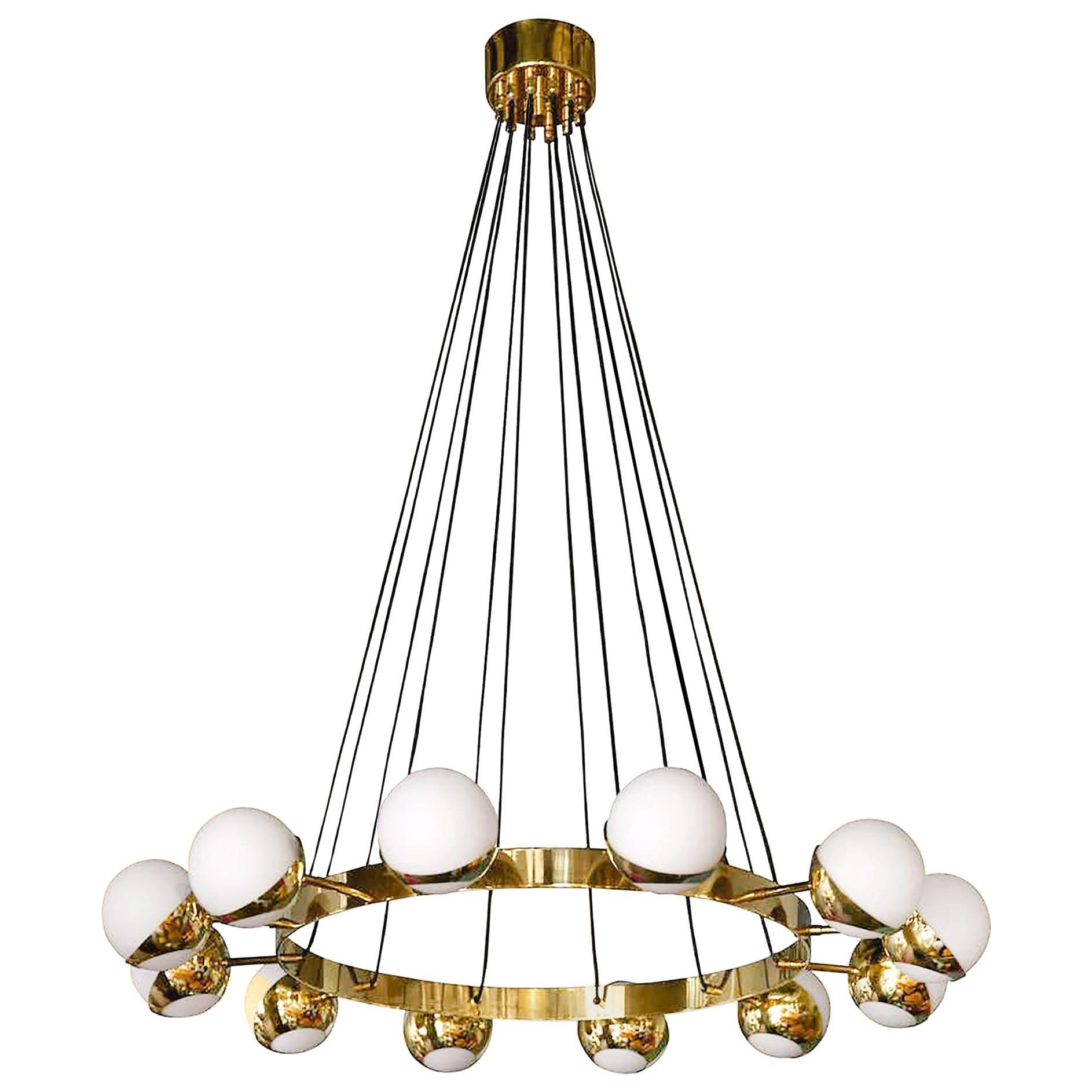 Mid-Century Modern Stilnovo Style Brass and Opaline Glass Italian Chandelier