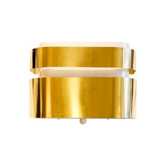 Mid-Century Modern Stilnovo Style Brass and White Aluminium Wall Light Sconce