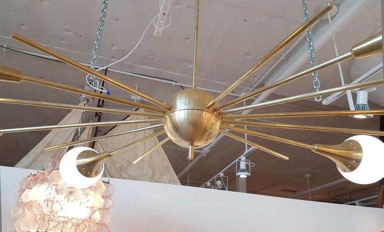 Italian Mid-Century Modern Stilnovo Style Brass & White Glass Sputnik Chandelier, 1960s For Sale