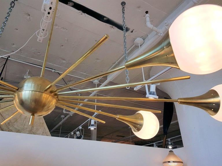 Mid-Century Modern Stilnovo Style Brass & White Glass Sputnik Chandelier, 1960s In Excellent Condition For Sale In Dallas, TX