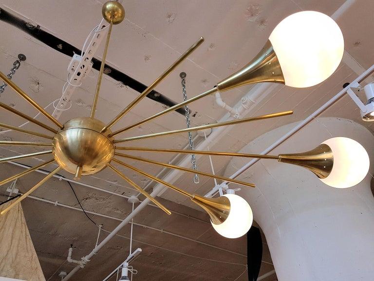 Mid-20th Century Mid-Century Modern Stilnovo Style Brass & White Glass Sputnik Chandelier, 1960s For Sale