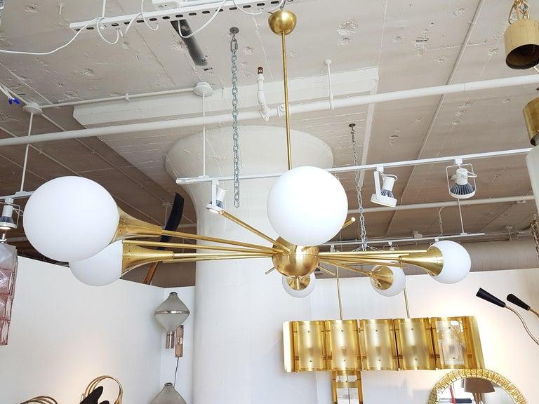 Mid-Century Modern Stilnovo Style Brass & White Glass Sputnik Chandelier, 1960s For Sale 1