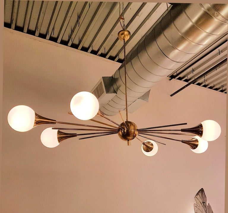 Mid-Century Modern Stilnovo Style Brass & White Glass Sputnik Chandelier, 1960s For Sale 2