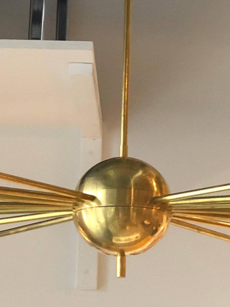 Mid-Century Modern Stilnovo Style Brass & White Glass Sputnik Chandelier, 1960s For Sale 4
