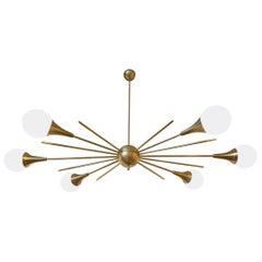 Mid-Century Modern Stilnovo Stil Messing & Weißes Glas Sputnik Kronleuchter, 1960er