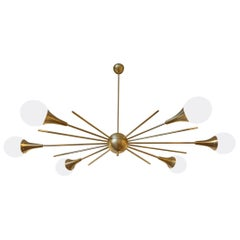 Mid-Century Modern Stilnovo Style Brass & White Glass Sputnik Chandelier, 1960s