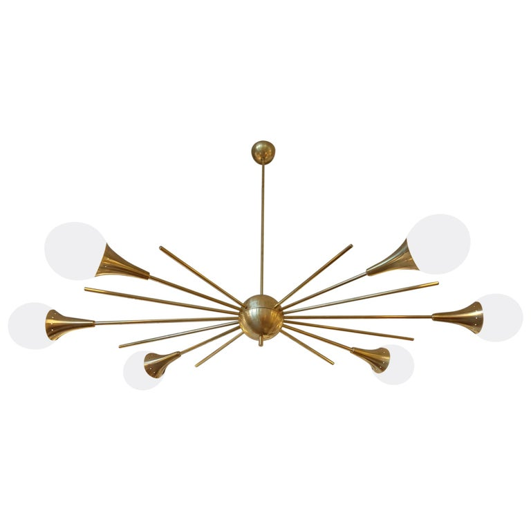 Mid-Century Modern Stilnovo Style Brass & White Glass Sputnik Chandelier, 1960s For Sale