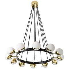 Mid-Century Modern Stilnovo Style Impressive Italian Chandelier