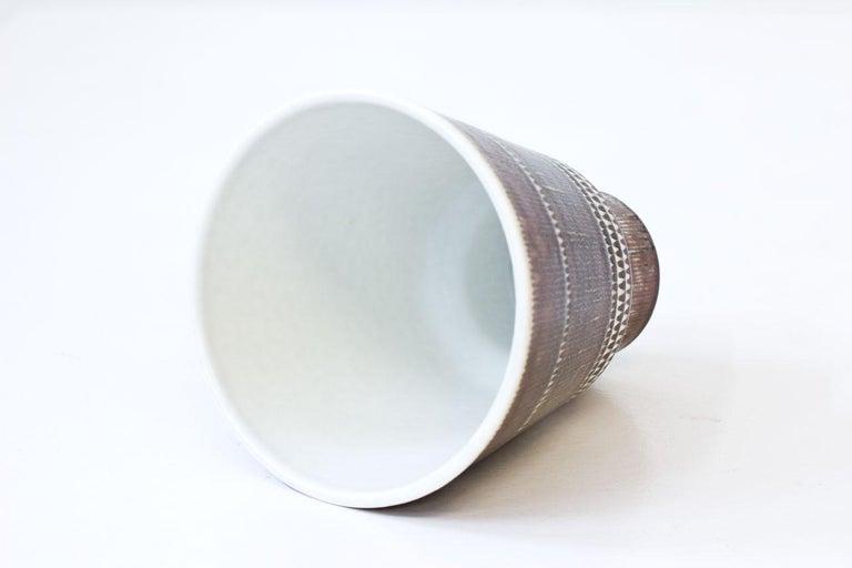 Scandinavian Modern Mid-Century Modern Stoneware Vase by Hertha Bengtson for Rörstrand, Sweden For Sale