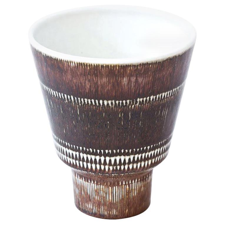 Mid-Century Modern Stoneware Vase by Hertha Bengtson for Rörstrand, Sweden For Sale