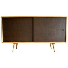 Mid-Century Modern Storage Sideboard in Maple with Brown Doors by Paul McCobb