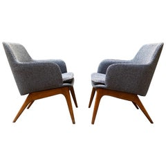 Mid-Century Modern Streamlined Bucket Chairs, a Pair