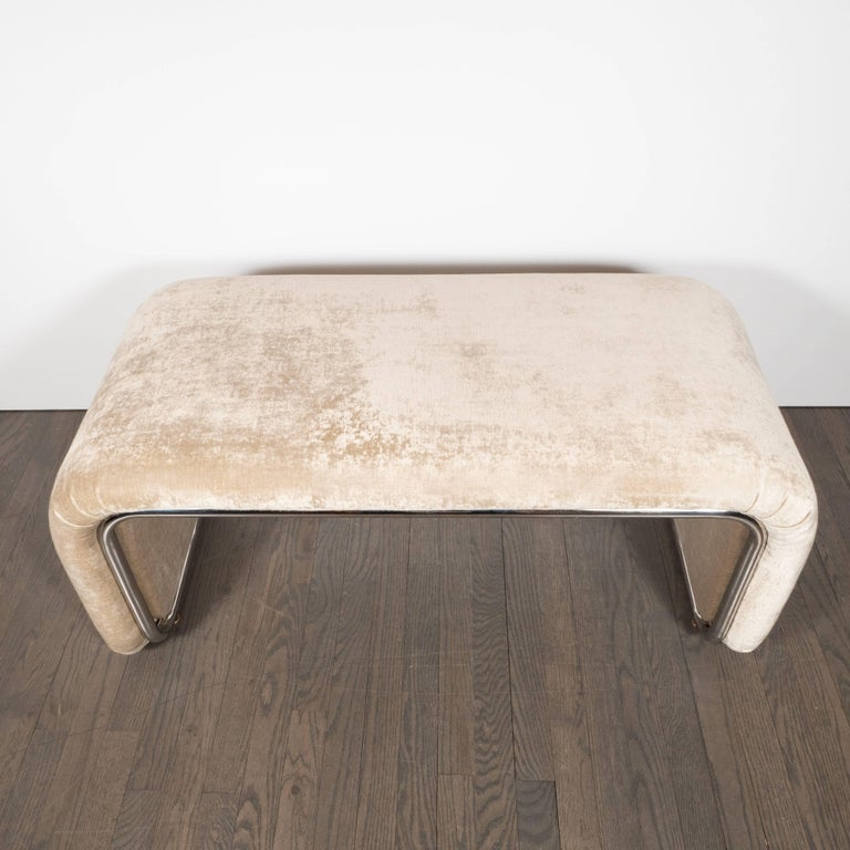 American Mid-Century Modern Streamlined Waterfall Bench in Chrome and Champagne Velvet For Sale