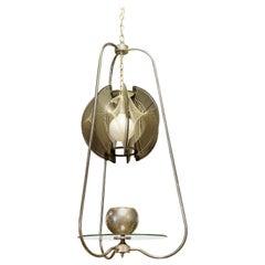 Mid-Century Modern String Wire Art Swag Chrome Chandelier Light Fixture, 1960s