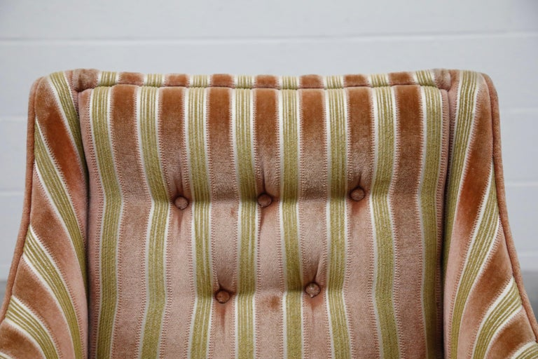 Mid-Century Modern Striped Velvet Fireside Armchair in Olive Green and Pink For Sale 5