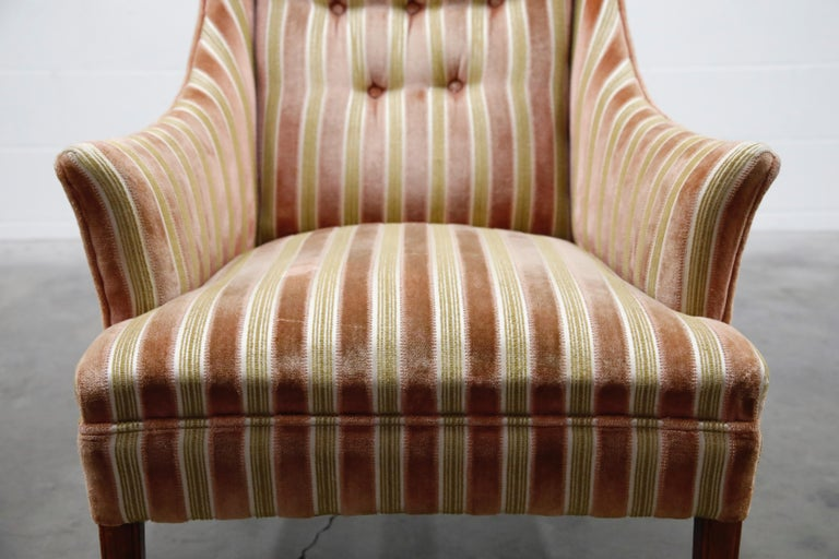 Mid-Century Modern Striped Velvet Fireside Armchair in Olive Green and Pink For Sale 6