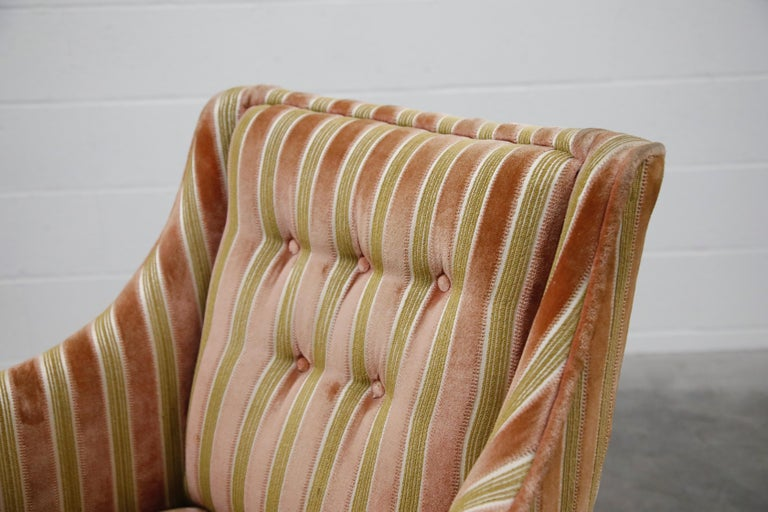 Mid-Century Modern Striped Velvet Fireside Armchair in Olive Green and Pink For Sale 7