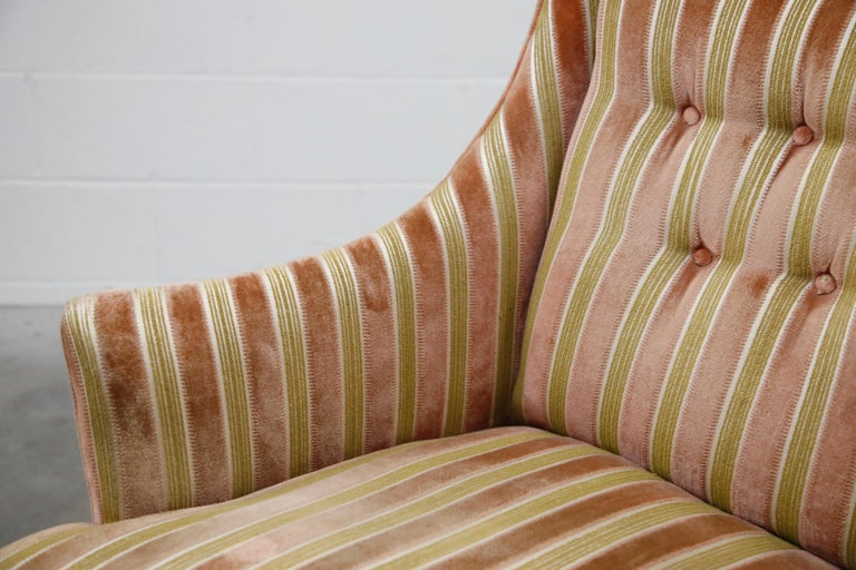 Mid-Century Modern Striped Velvet Fireside Armchair in Olive Green and Pink For Sale 8