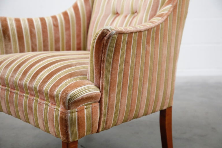 Mid-Century Modern Striped Velvet Fireside Armchair in Olive Green and Pink For Sale 9